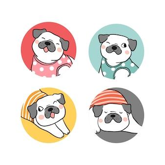Desenhe o logotipo do cão pug
