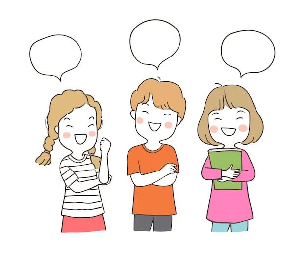 Desenhe o personagem de um menino e uma menina com bolha do discurso
