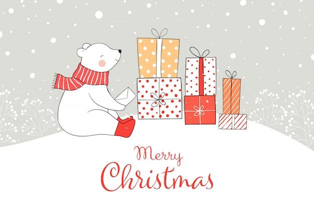 Desenhe o urso com a caixa de presente na neve pelo natal e o ano novo.