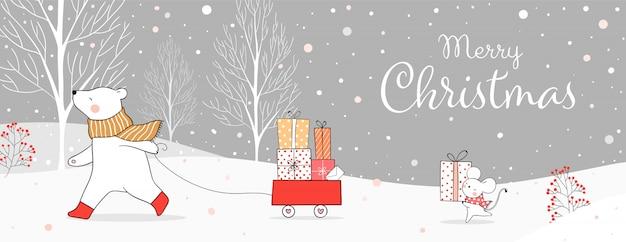 Desenhe o urso e o rato com a caixa de presente na neve para o natal e o inverno.