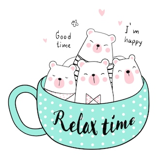 Desenhe o urso fofo em estilo de Doodle de xícara de chá de chá