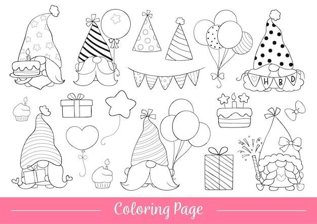 Desenhe página para colorir aniversário gnomo estilo doodle cartoon