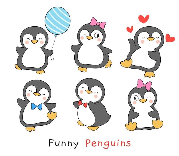 Desenhe pinguins engraçados no estilo desenho animado