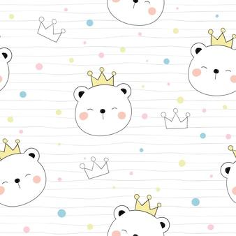 Desenhe sem costura padrão urso e coroa na cabeça com bolinhas de cor.