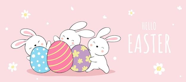 Desenhe um banner de coelho com ovos para a páscoa e a primavera