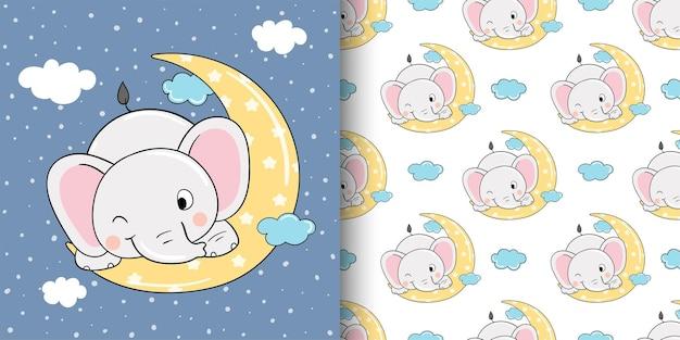 Desenhe um cartão comemorativo e um elefante de padrão para crianças de têxteis de tecido