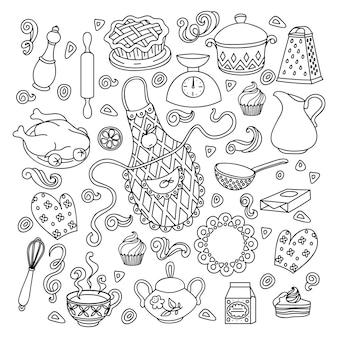 Desenhe um conjunto de objetos e símbolos do doodle desenhado à mão no tema cozinha