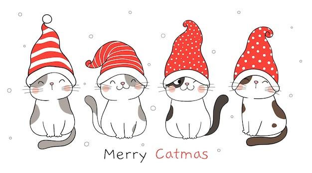 Desenhe um estandarte de gatos engraçados com um chapéu de gnomo para o natal