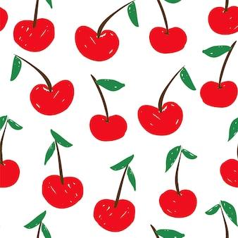 Desenhe um fundo de cereja bonito, design de impressão para têxteis