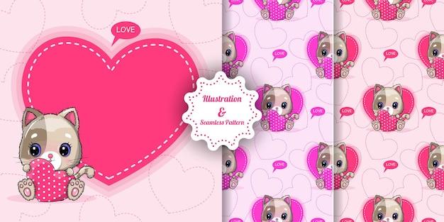 Desenhe um gato bonito com grandes corações para o dia dos namorados. cartão de convite e conjunto de padrões