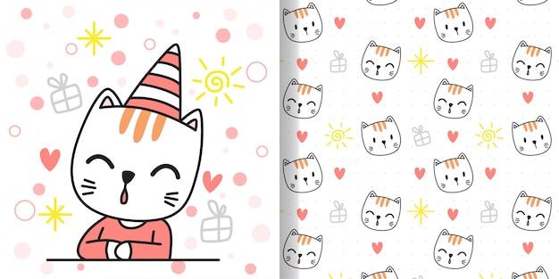 Desenhe um gato feliz. imprimir padrão sem emenda e cartão para crianças de tecidos têxteis.