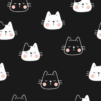 Desenhe um gato fofo de padrão sem emenda com a pata