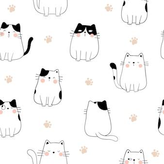 Desenhe um gato padrão sem emenda com a pata para impressão.