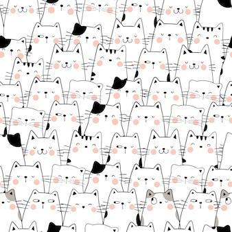 Desenhe um gato sem costura padrão estilo de desenho animado