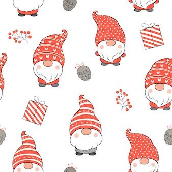 Desenhe um gnomo de padrão sem emenda para o natal.