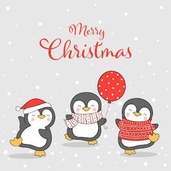 Desenhe um pinguim engraçado na neve para o natal