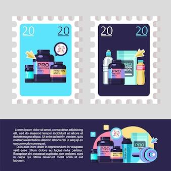 Desenhe um selo postal. proteína, nutrição esportiva. conjunto de vetores de elementos de design.
