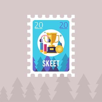 Desenhe um selo postal. tiroteio. tiro skeet.