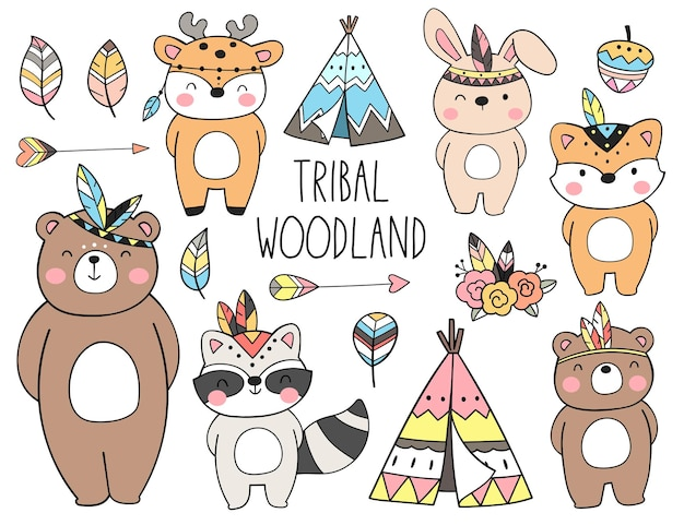 Desenhe uma coleção de animais tribais da floresta