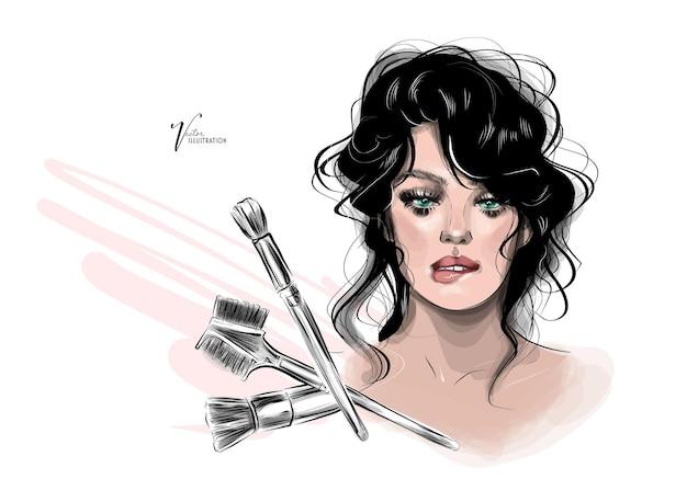 Desenhe uma linda garota com maquiagem