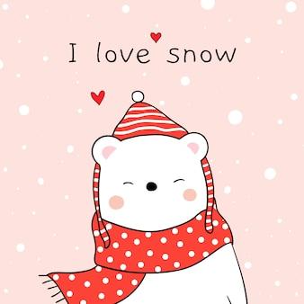 Desenhe urso branco com lenço de beleza na neve para a temporada de inverno