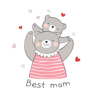 Desenhe urso mãe e bebê com coraçãozinho em branco para o dia das mães.