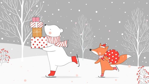 Desenhe urso polar segurando presentes e raposa com presente de saco na neve.