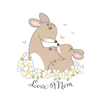 Desenhe veados e bebês com flores de beleza no dia das mães.