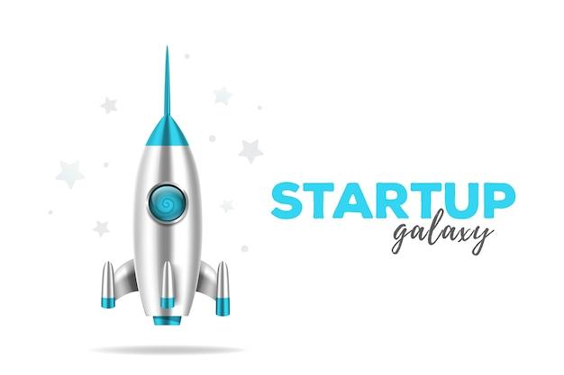 Desenho 3d de nave espacial com estrelas