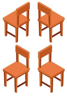 Desenho 3d para cadeiras de madeira