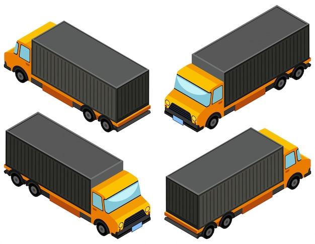 Desenho 3d para camião de camião amarelo