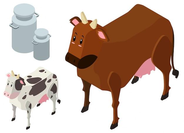 Desenho 3d para duas vacas e tanques de leite