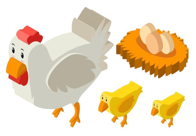 Desenho 3d para galinhas e ovos