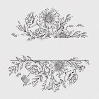 Desenho à mão botânico de rosas de vetor de borda vintage de flores