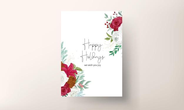 Desenho à mão cartão de natal lindas folhas florais e verdes