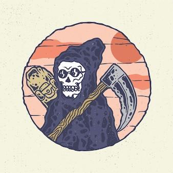 Desenho à mão com arte de linha bruta, esqueleto com estilo de skate