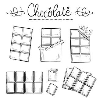 Desenho à mão da barra de chocolate dia mundial doodle desenhar ilustração linha arte vetorial