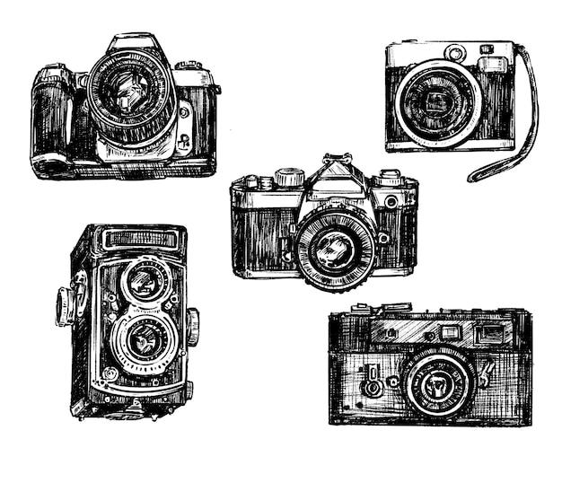 Desenho à mão da coleção de câmeras vintage