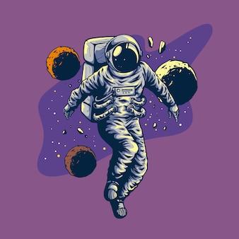 Desenho à mão de astronauta com estilo de vôo