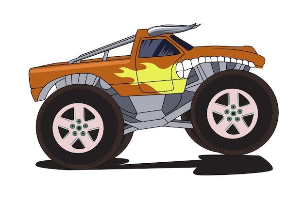 Desenho à mão de bull monster truck