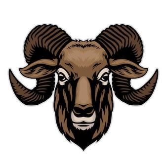 Desenho à mão de cabeça de cabra