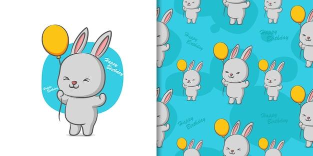 Desenho à mão de coelho com balão na ilustração padrão