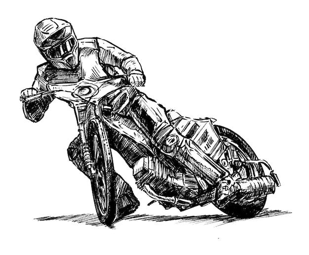 Desenho à mão de corridas de motocross