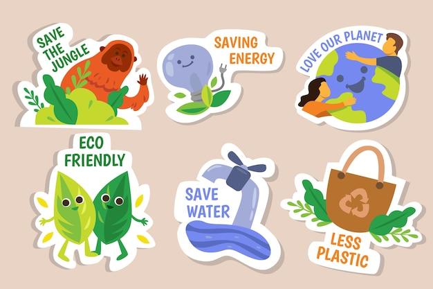 Desenho à mão de emblemas de ecologia