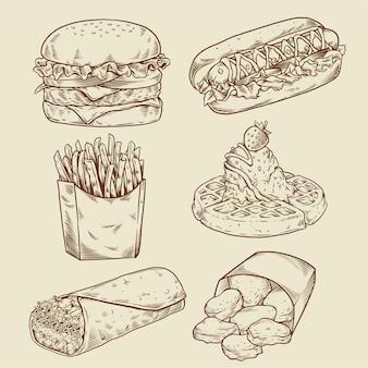 Desenho à mão de fast food vintage