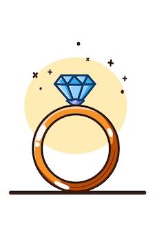 Desenho à mão de ilustração de anel de diamante