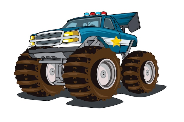 Desenho à mão de ilustração de caminhão gigante de monstro policial