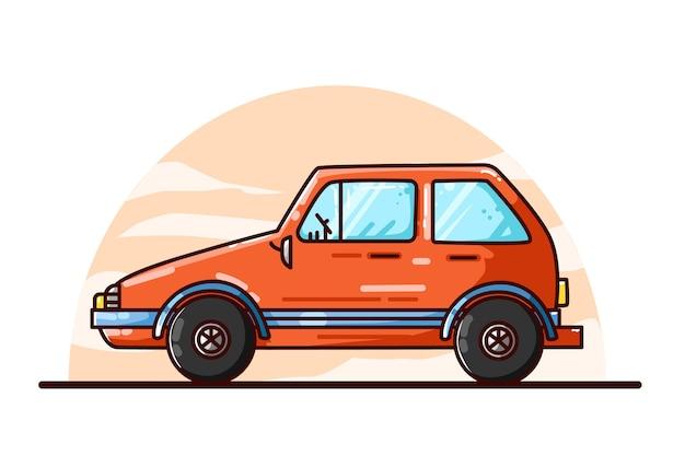 Desenho à mão de ilustração de carro laranja