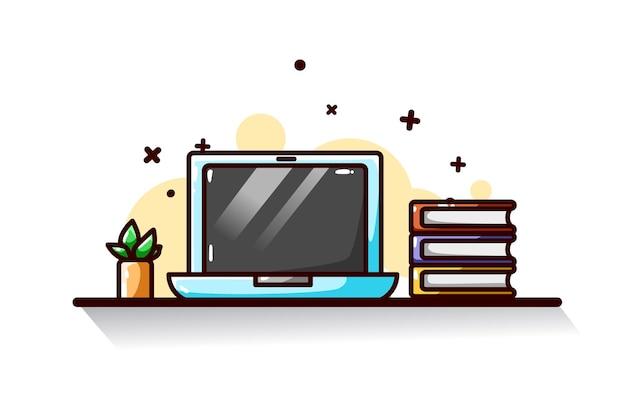 Desenho à mão de ilustração de laptop e livros