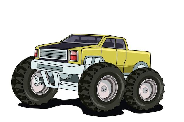 Desenho à mão de ilustração de monster truck amarelo clássico vintage